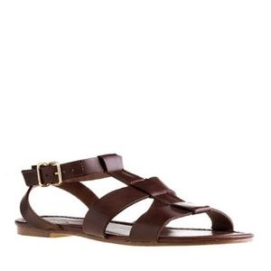 J.Crew Olympia Brown Leather Sandals Gold detail
